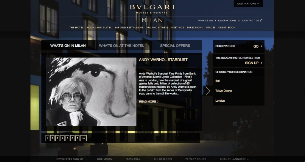 Bulgari Hotels, web communications