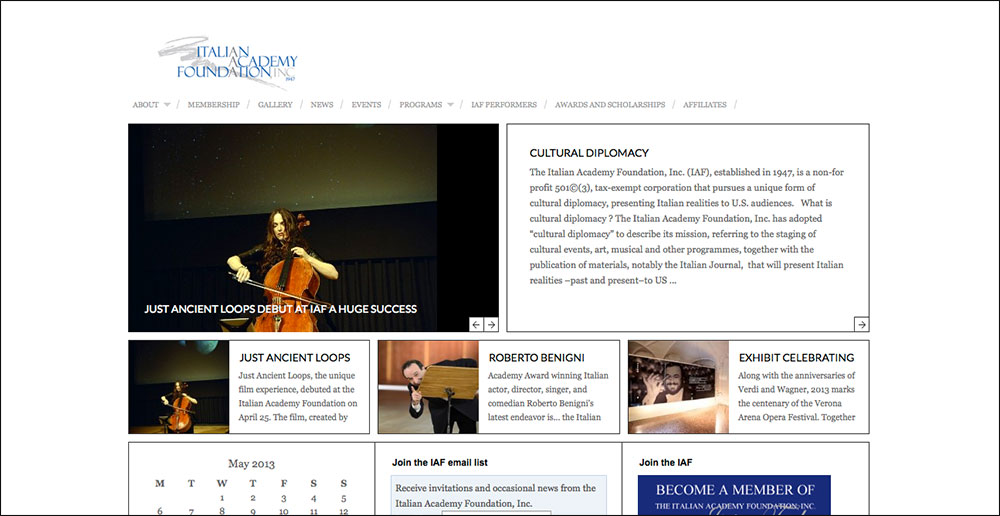 Italian Academy Foundation, Inc., website design