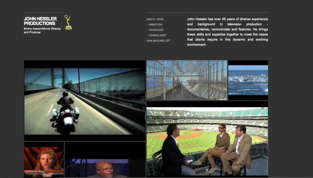 John Hessler Productions, website design