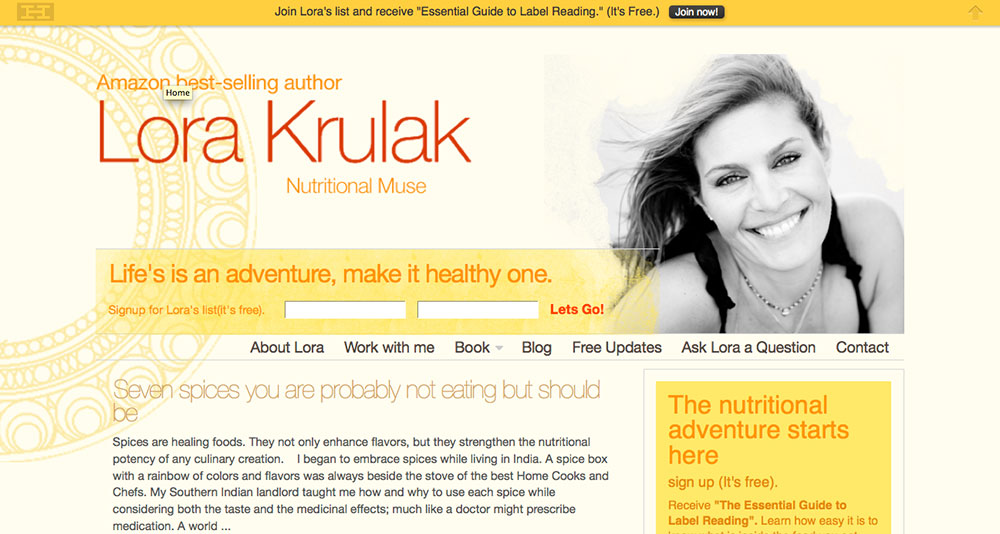 Lora Krulak, website design