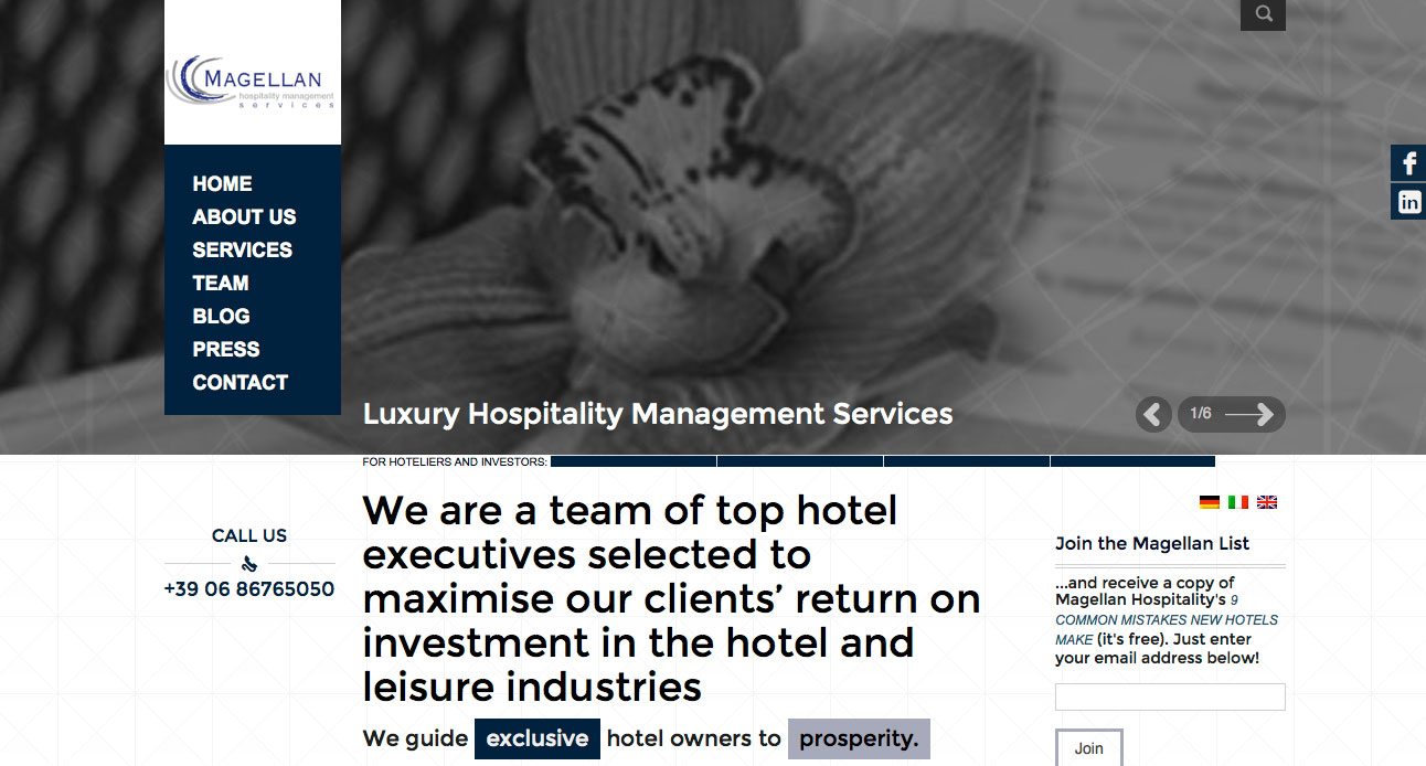 Magellan Hospitality Management, website design