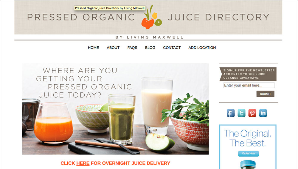 Pressed Juice Directory, website consulting