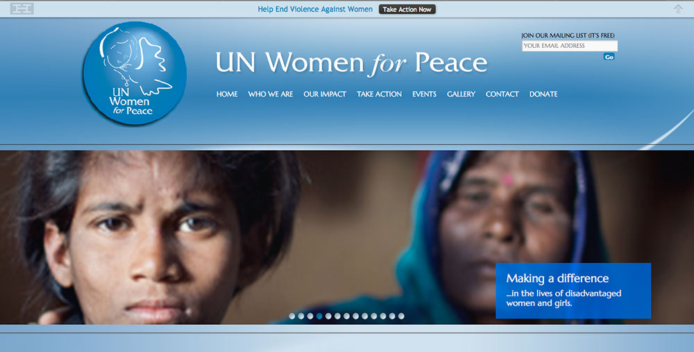 United Nations Women for Peace, website design