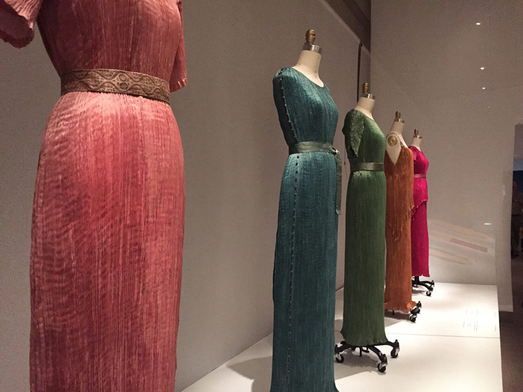 In one of my own photos, an array of gem-colored dresses in hand-dyed silk.