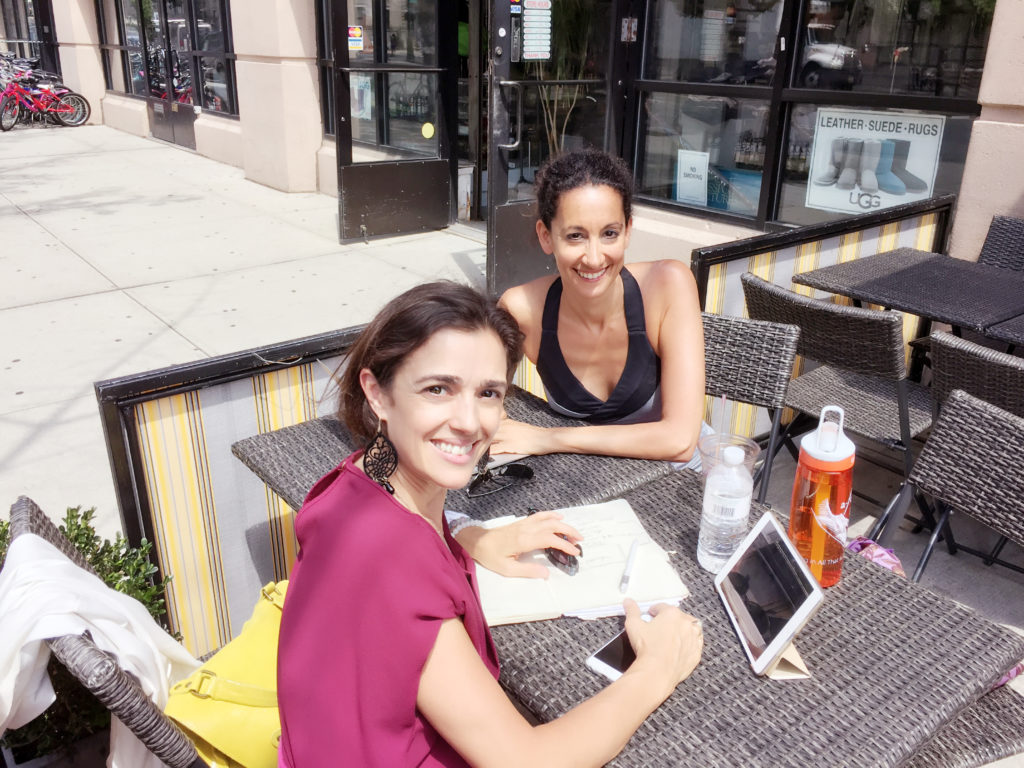 From Harlem to Tuscany – Valerie and I working on our Retreat: Awakening the Authentic Self during a hot summer day in NYC.
